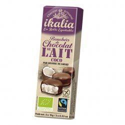 Ciocolata fina artizanala cu nuca de cocos, invelita in ciocolata cu lapte, fara gluten, Bio