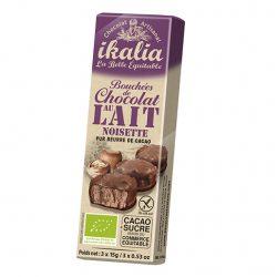 Ciocolata fina artizanala cu praline, invelita in ciocolata cu lapte, fara gluten, Bio